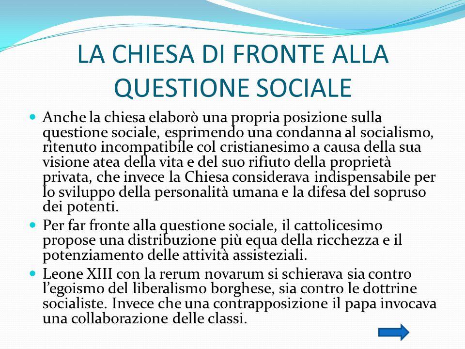 LA CHIESA DI FRONTE ALLA QUESTIONE SOCIALE