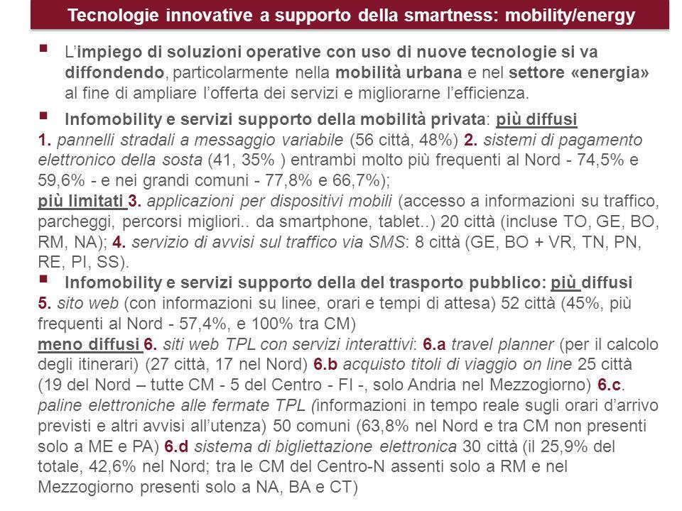 Tecnologie innovative a supporto della smartness: mobility/energy