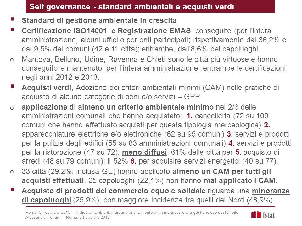 Self governance - standard ambientali e acquisti verdi