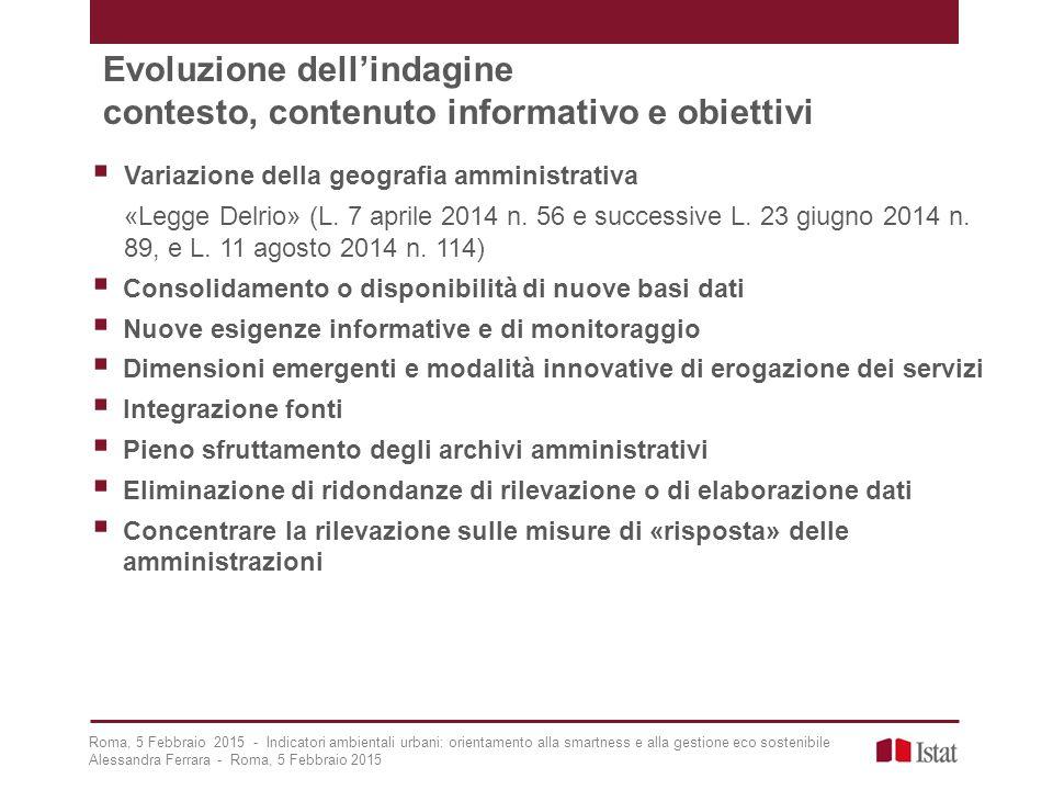 Evoluzione dell'indagine contesto, contenuto informativo e obiettivi
