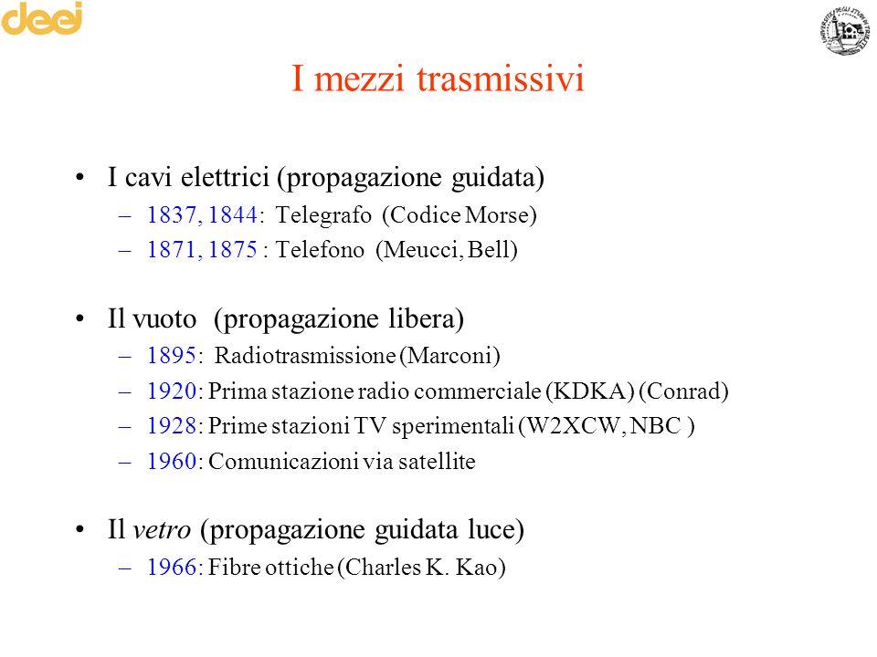 I mezzi trasmissivi I cavi elettrici (propagazione guidata)