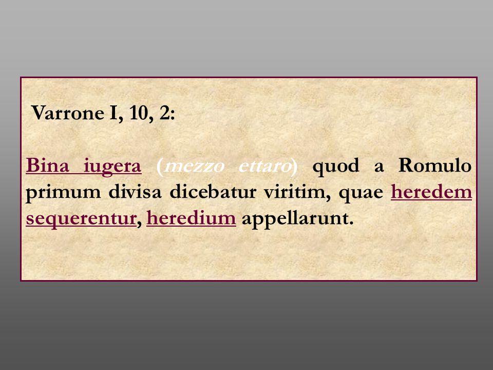 Varrone I, 10, 2: Bina iugera (mezzo ettaro) quod a Romulo primum divisa dicebatur viritim, quae heredem sequerentur, heredium appellarunt.
