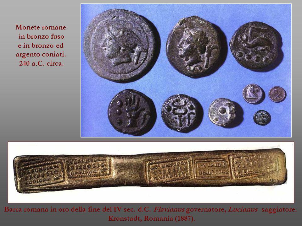 Monete romane in bronzo fuso. e in bronzo ed. argento coniati. 240 a.C. circa.