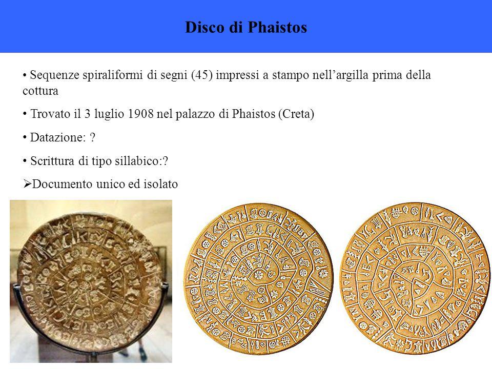 Disco di Phaistos Sequenze spiraliformi di segni (45) impressi a stampo nell'argilla prima della cottura.