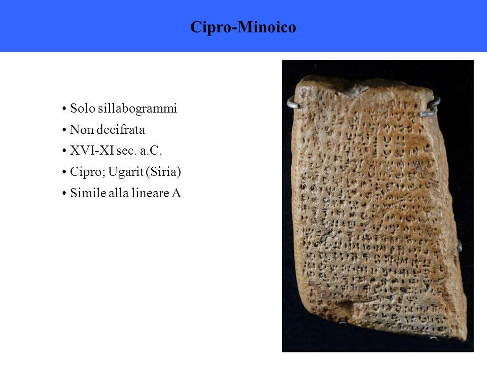 Cipro-Minoico Solo sillabogrammi Non decifrata XVI-XI sec. a.C.