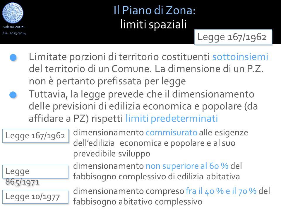 Il Piano di Zona: limiti spaziali Legge 167/1962