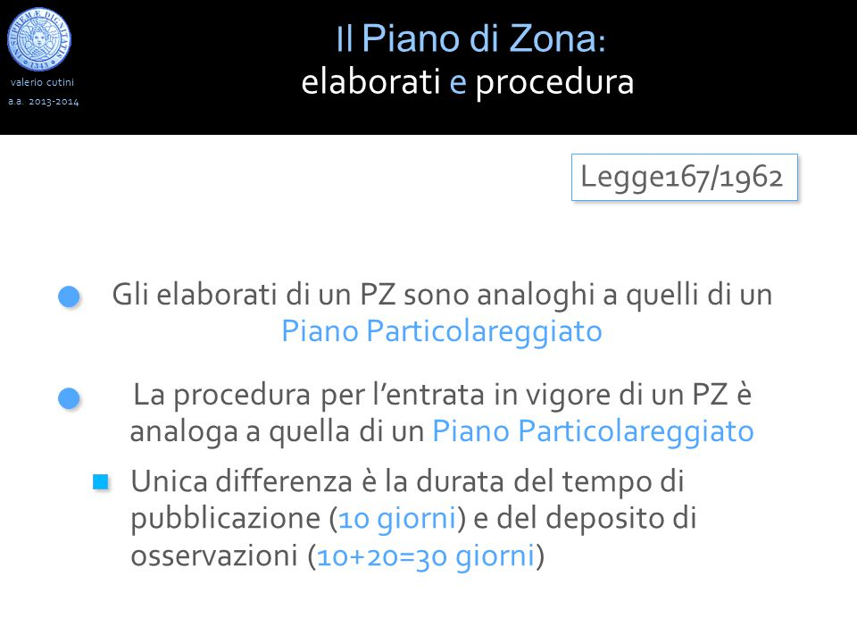 Il Piano di Zona: elaborati e procedura Legge167/1962