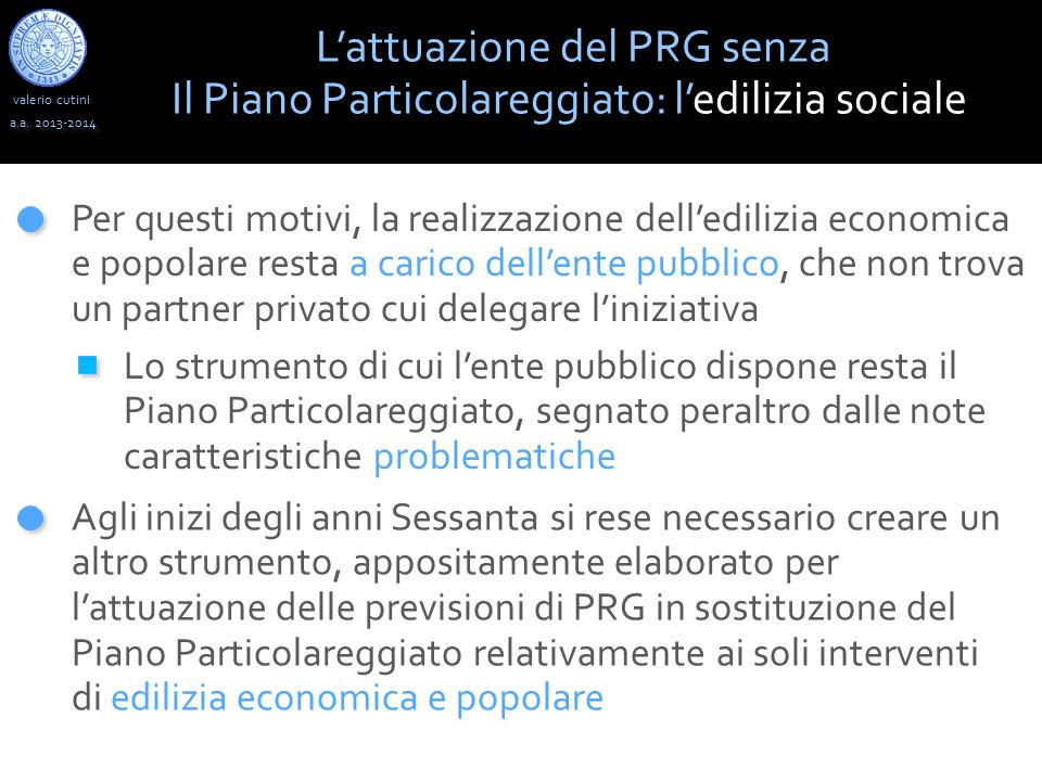 L'attuazione del PRG senza
