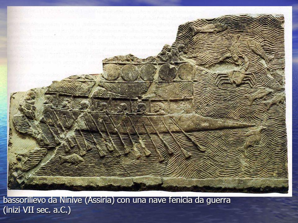 bassorilievo da Ninive (Assiria) con una nave fenicia da guerra (inizi VII sec. a.C.)