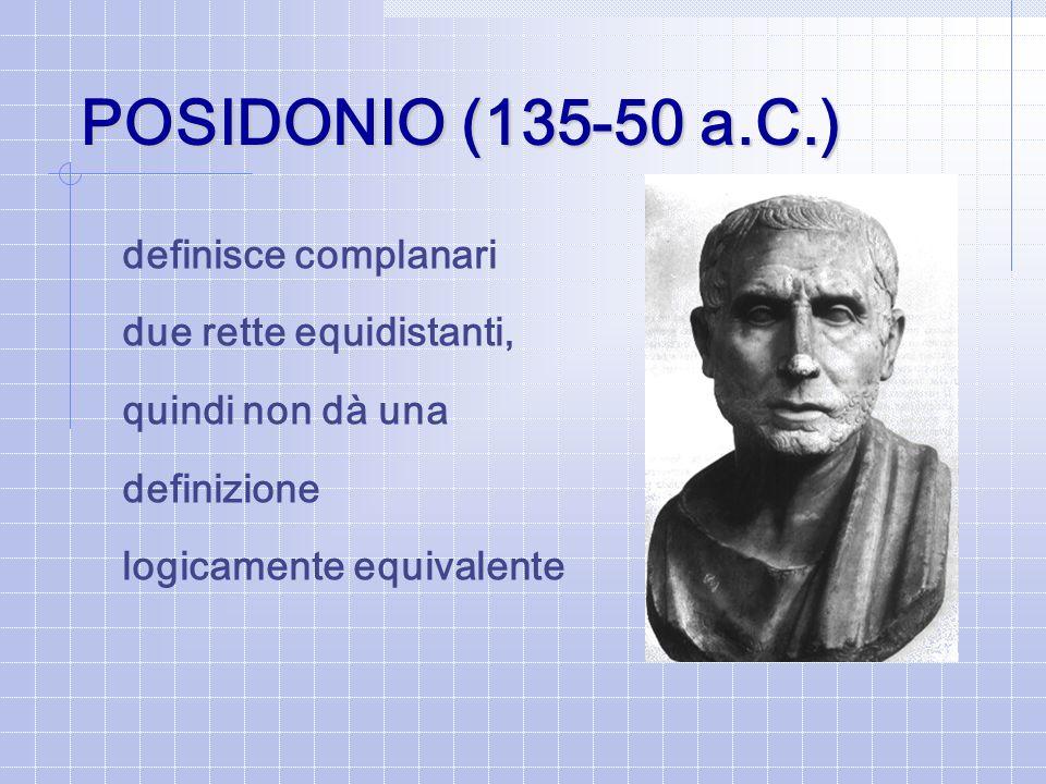 POSIDONIO (135-50 a.C.) definisce complanari due rette equidistanti,