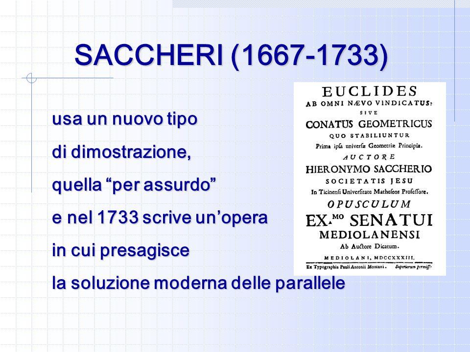SACCHERI (1667-1733) usa un nuovo tipo di dimostrazione,