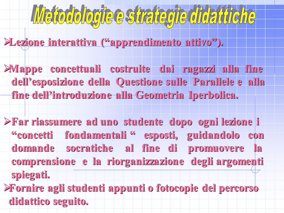Metodologie e strategie didattiche