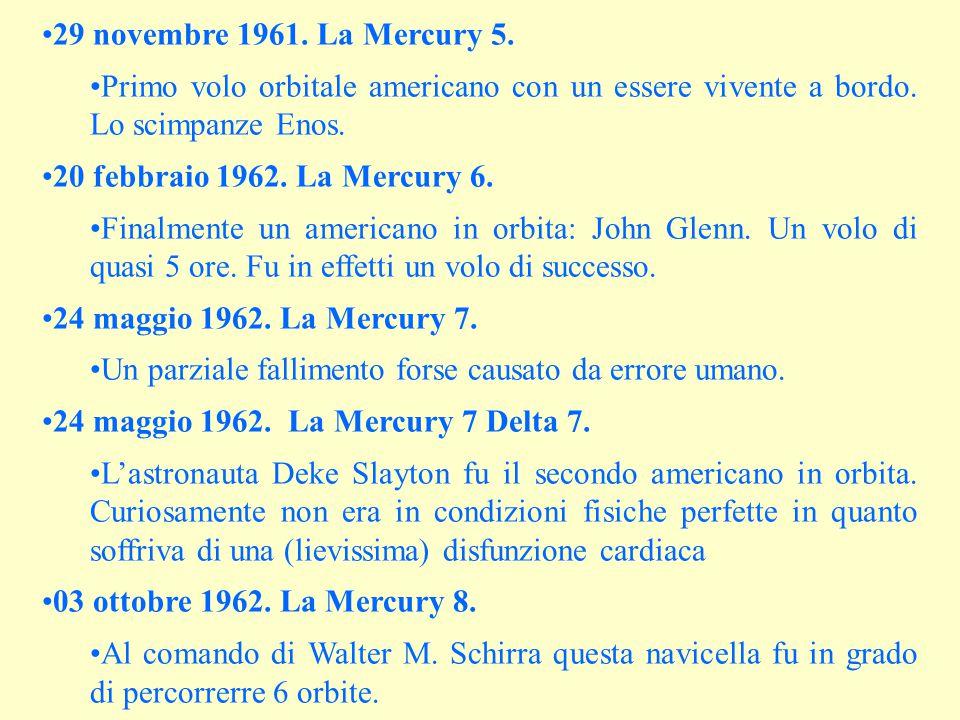 29 novembre 1961. La Mercury 5. Primo volo orbitale americano con un essere vivente a bordo. Lo scimpanze Enos.