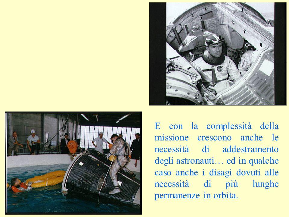 E con la complessità della missione crescono anche le necessità di addestramento degli astronauti… ed in qualche caso anche i disagi dovuti alle necessità di più lunghe permanenze in orbita.