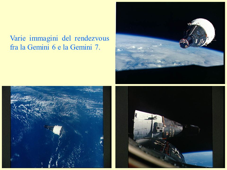 Varie immagini del rendezvous fra la Gemini 6 e la Gemini 7.