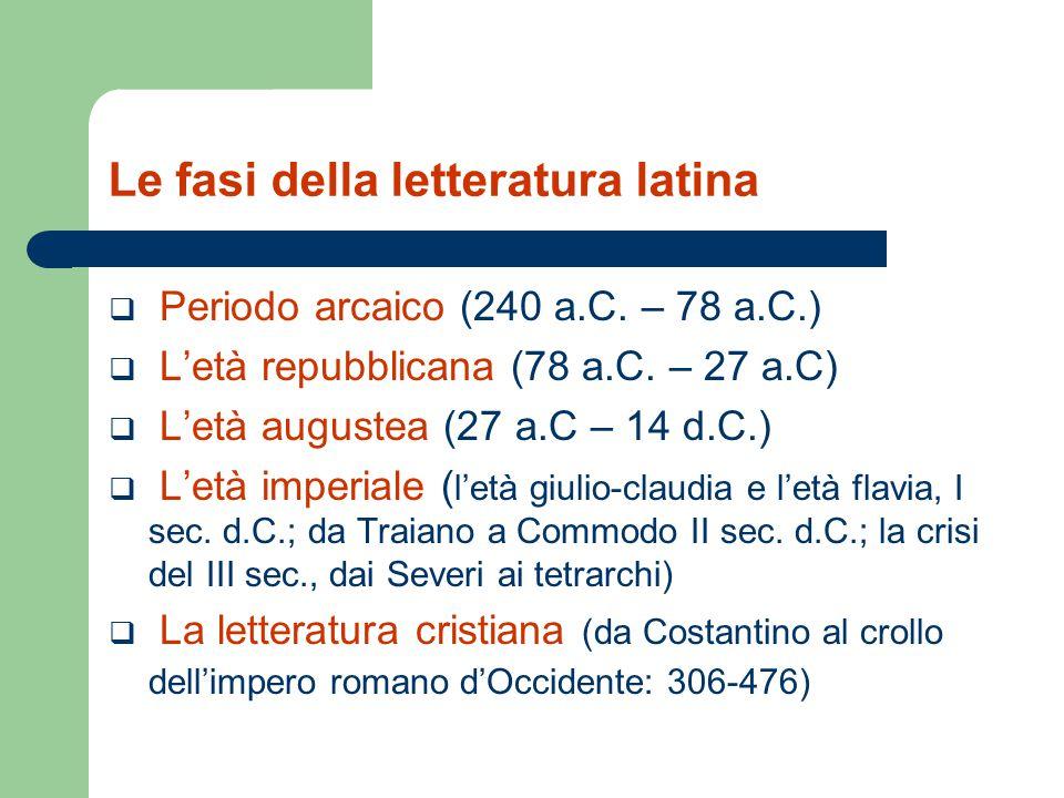 Le fasi della letteratura latina