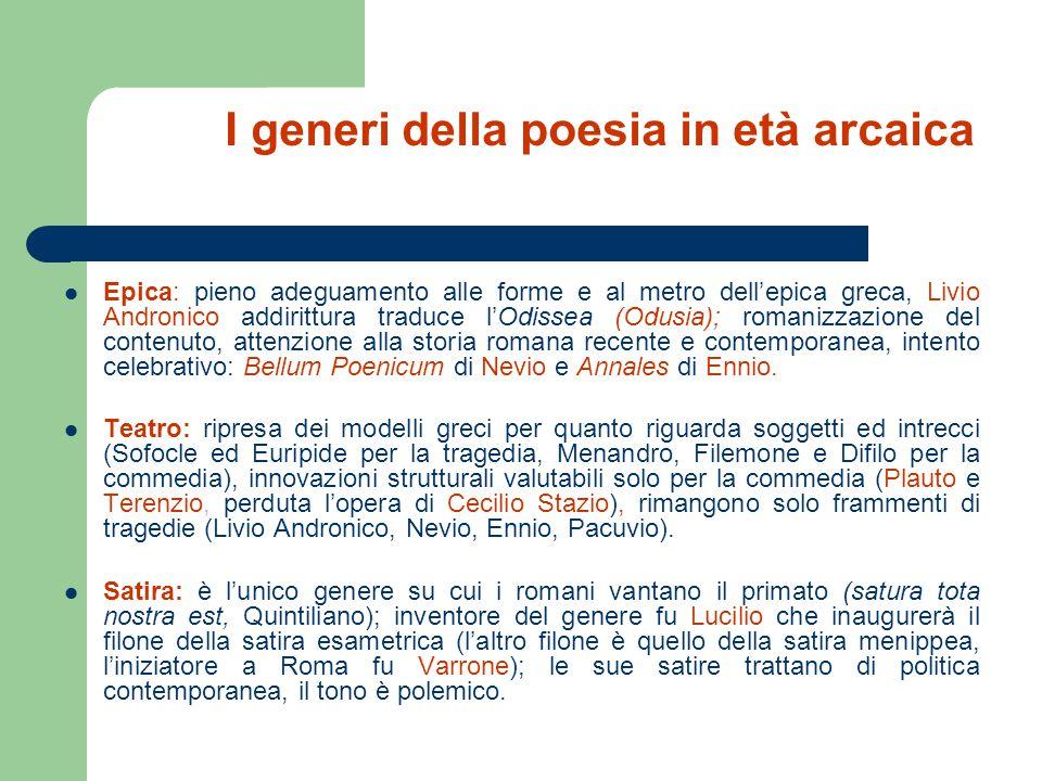 I generi della poesia in età arcaica