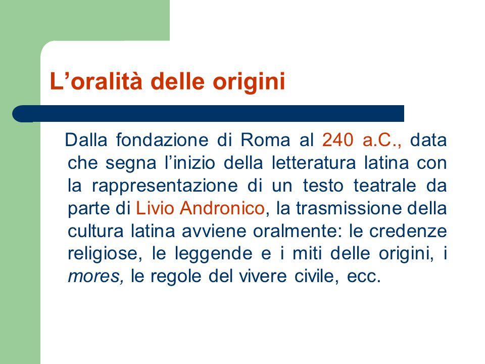 L'oralità delle origini