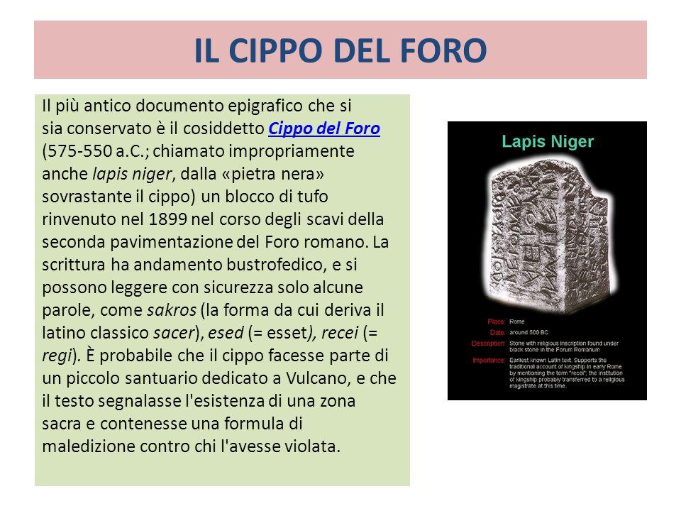 IL CIPPO DEL FORO Il più antico documento epigrafico che si