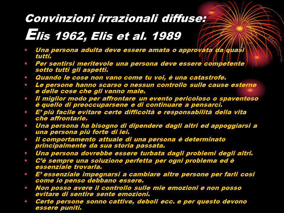 Convinzioni irrazionali diffuse: Elis 1962, Elis et al. 1989