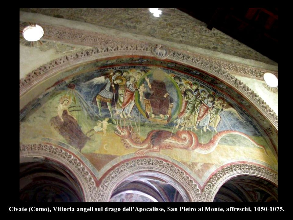 Civate (Como), Vittoria angeli sul drago dell'Apocalisse, San Pietro al Monte, affreschi, 1050-1075.