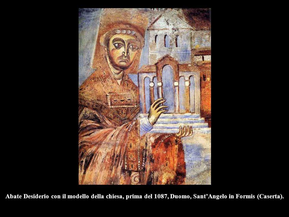 Abate Desiderio con il modello della chiesa, prima del 1087, Duomo, Sant'Angelo in Formis (Caserta).