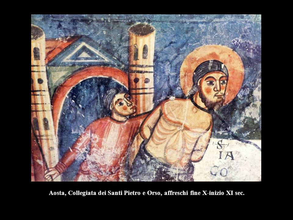 Aosta, Collegiata dei Santi Pietro e Orso, affreschi fine X-inizio XI sec.