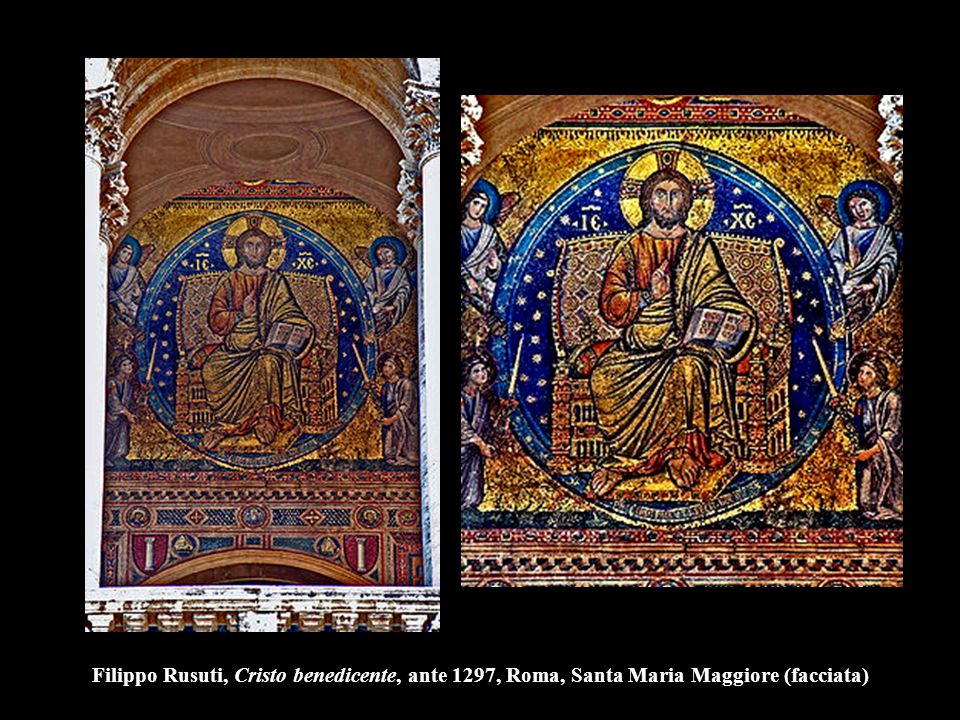 Filippo Rusuti, Cristo benedicente, ante 1297, Roma, Santa Maria Maggiore (facciata)