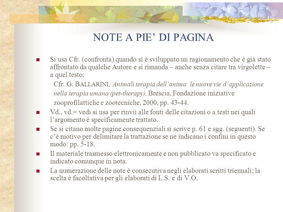 NOTE A PIE' DI PAGINA