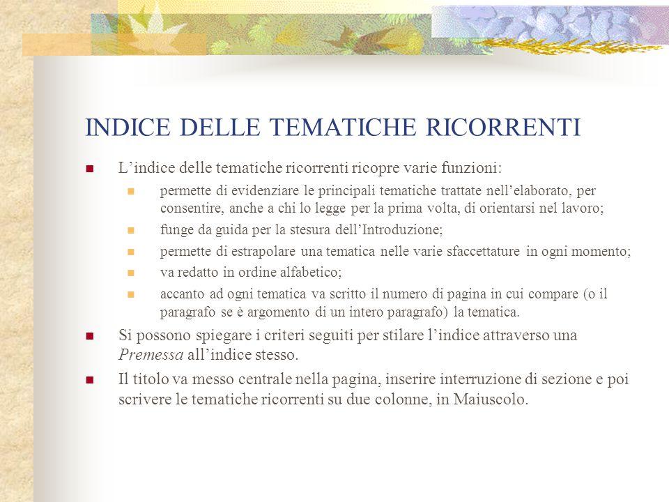 INDICE DELLE TEMATICHE RICORRENTI
