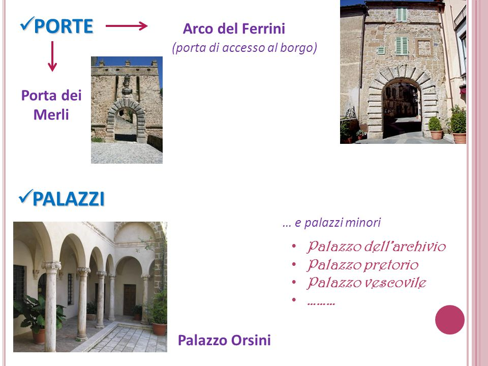 PORTE PALAZZI Arco del Ferrini Porta dei Merli Palazzo Orsini