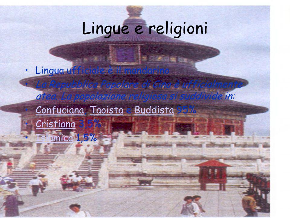 Lingue e religioni Lingua ufficiale è il mandarino