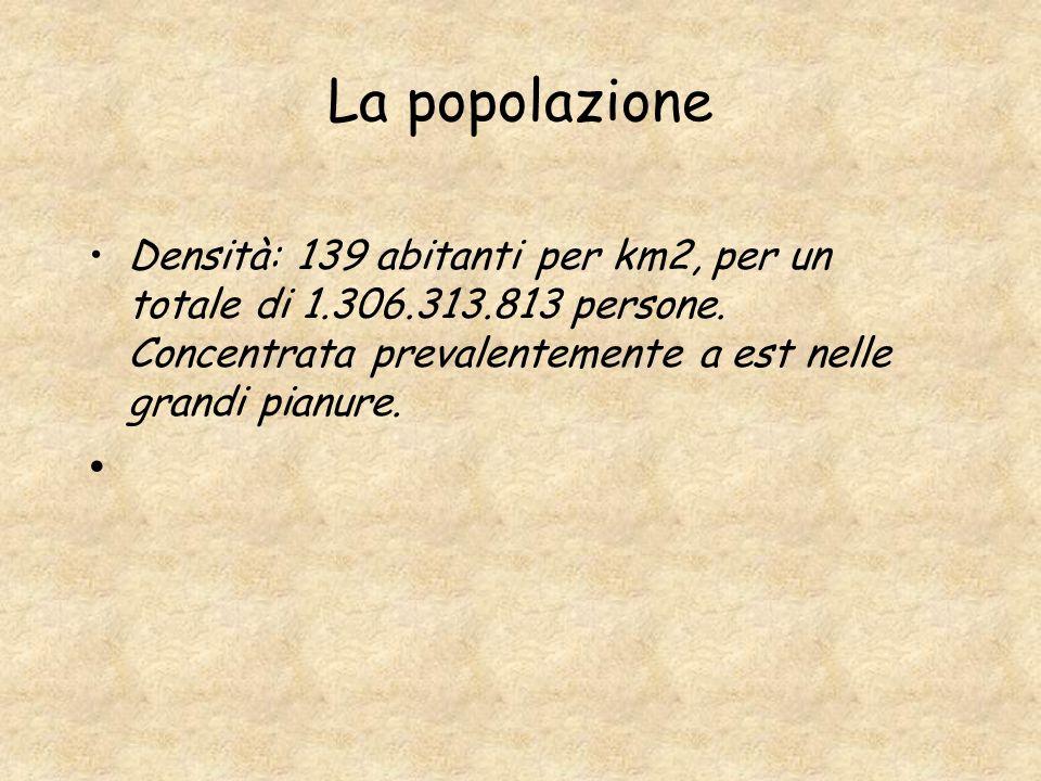 La popolazione Densità: 139 abitanti per km2, per un totale di 1.306.313.813 persone.