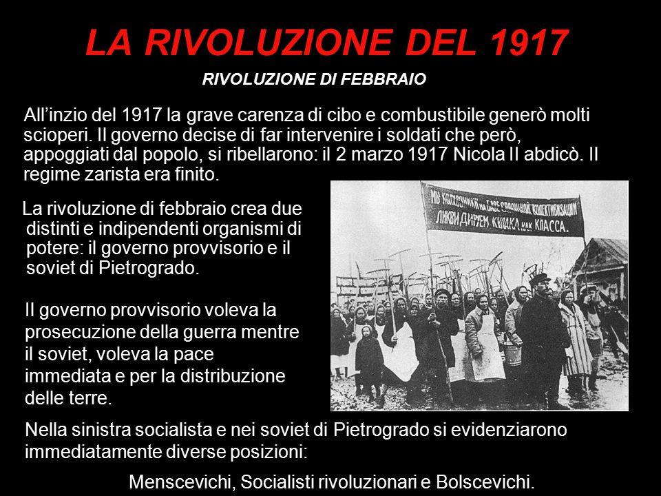 LA RIVOLUZIONE DEL 1917 RIVOLUZIONE DI FEBBRAIO.