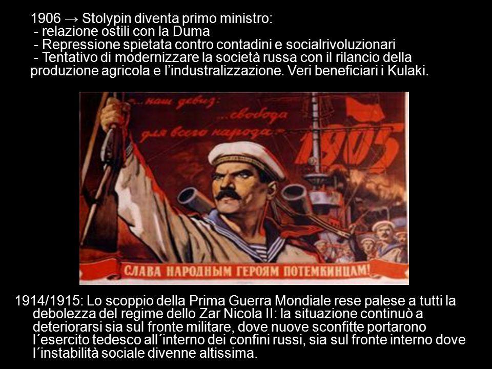 1906 → Stolypin diventa primo ministro: