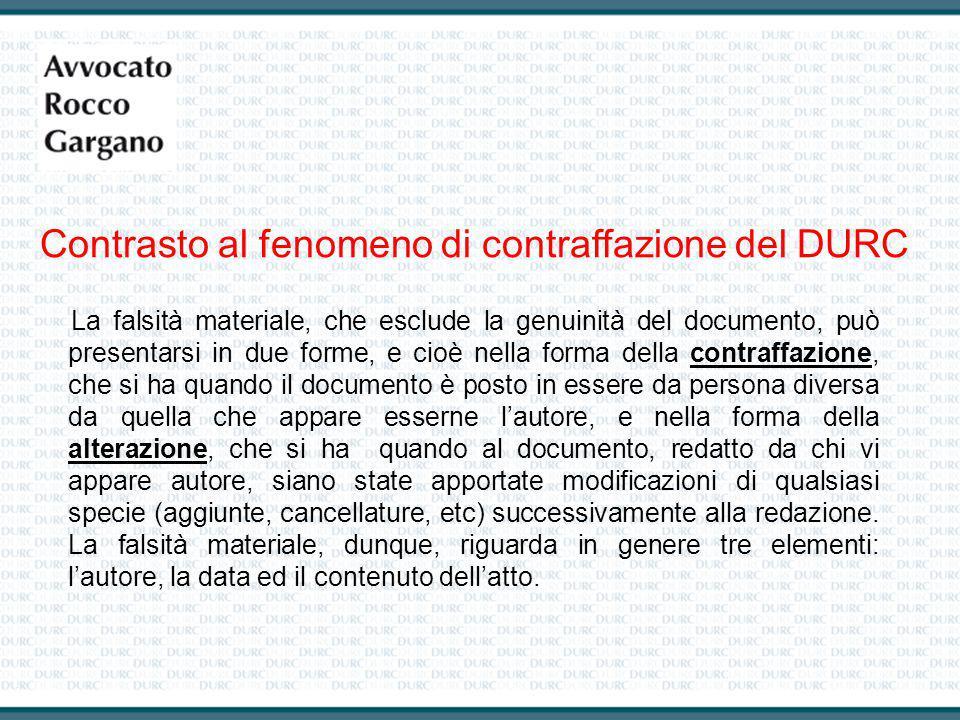 Contrasto al fenomeno di contraffazione del DURC