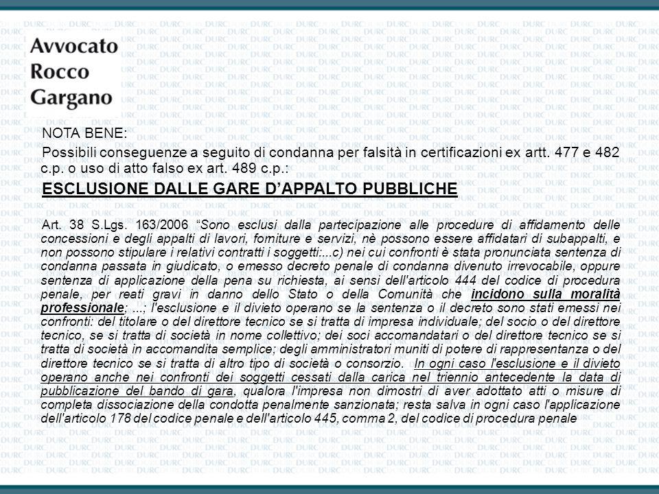 ESCLUSIONE DALLE GARE D'APPALTO PUBBLICHE