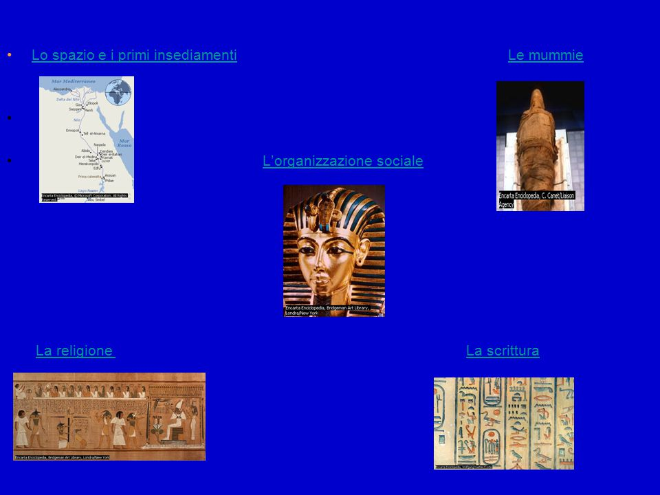 Lo spazio e i primi insediamenti Le mummie