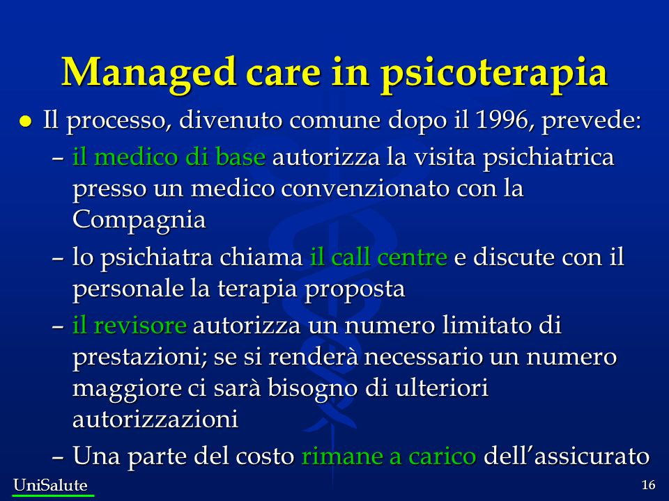 Managed care in psicoterapia