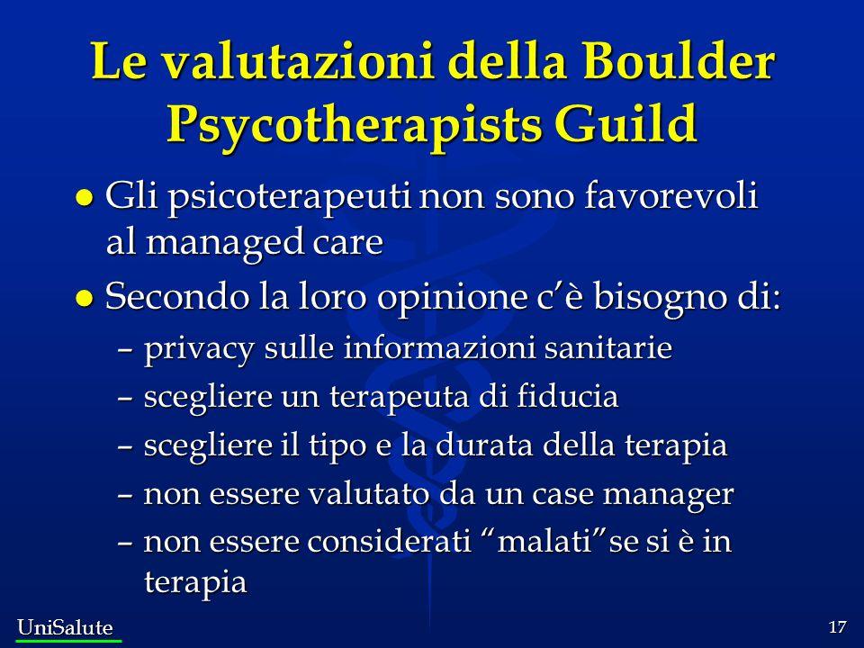 Le valutazioni della Boulder Psycotherapists Guild