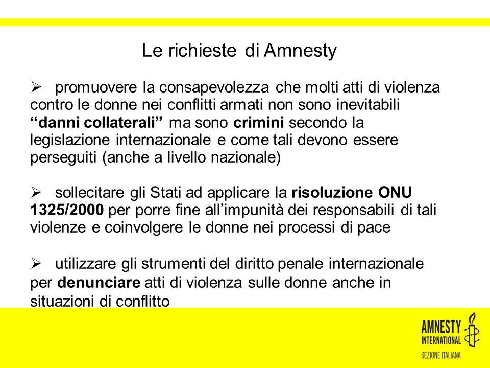 Le richieste di Amnesty