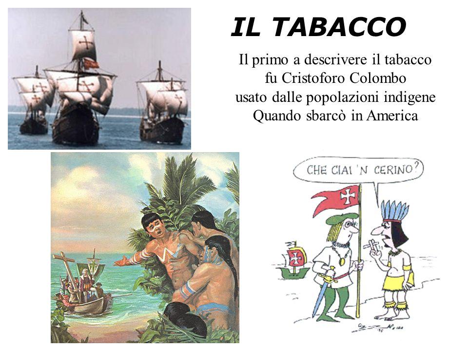 IL TABACCO Il primo a descrivere il tabacco fu Cristoforo Colombo