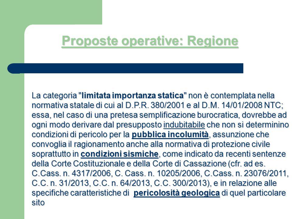 Proposte operative: Regione