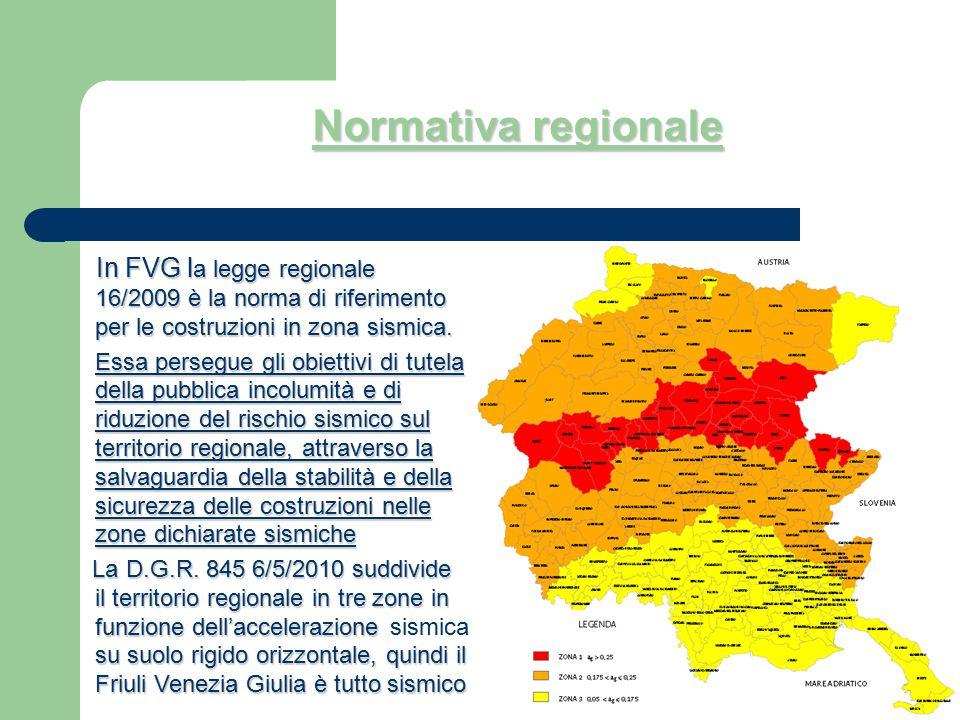 Normativa regionale In FVG la legge regionale 16/2009 è la norma di riferimento per le costruzioni in zona sismica.