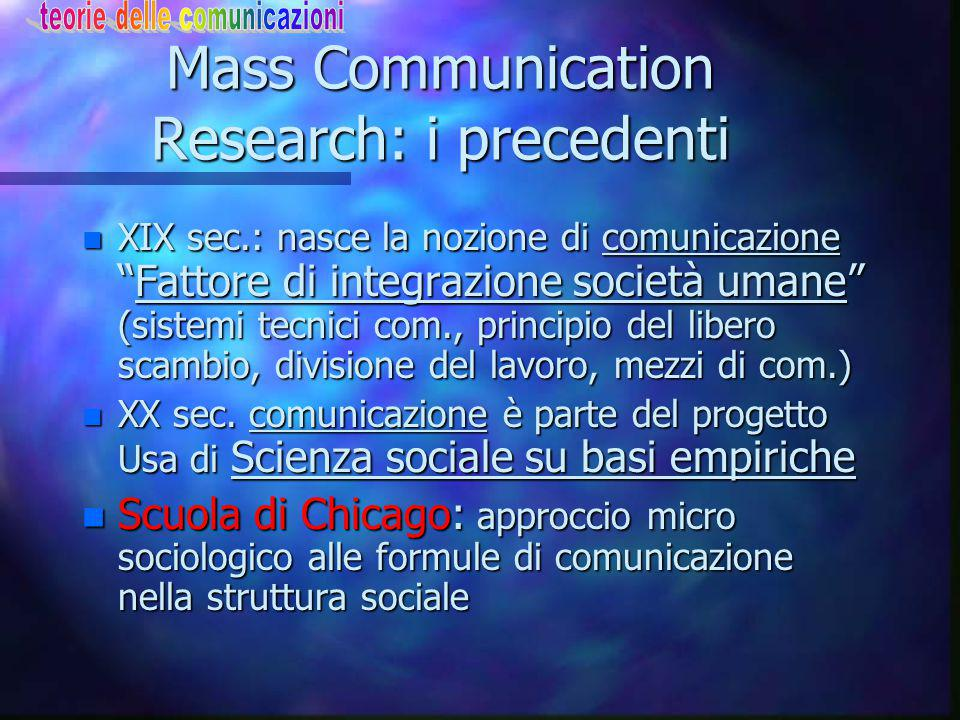 Mass Communication Research: i precedenti