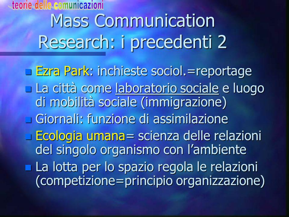 Mass Communication Research: i precedenti 2