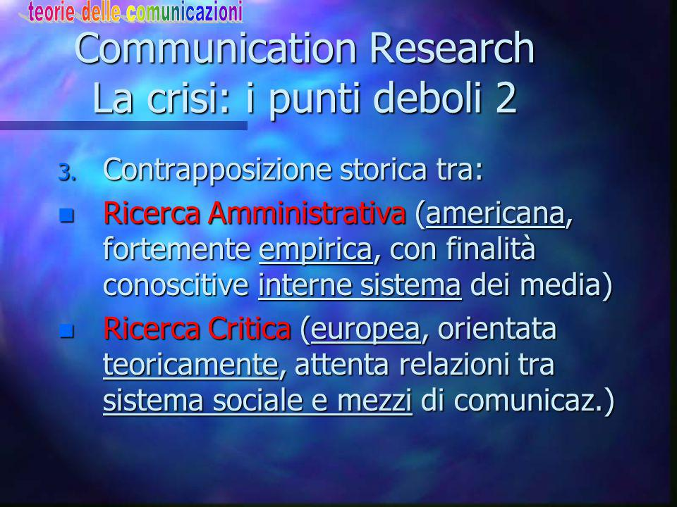 Communication Research La crisi: i punti deboli 2