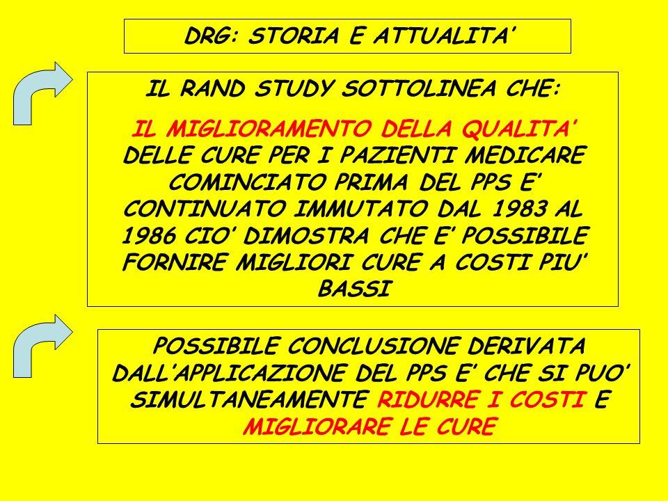 DRG: STORIA E ATTUALITA' IL RAND STUDY SOTTOLINEA CHE: