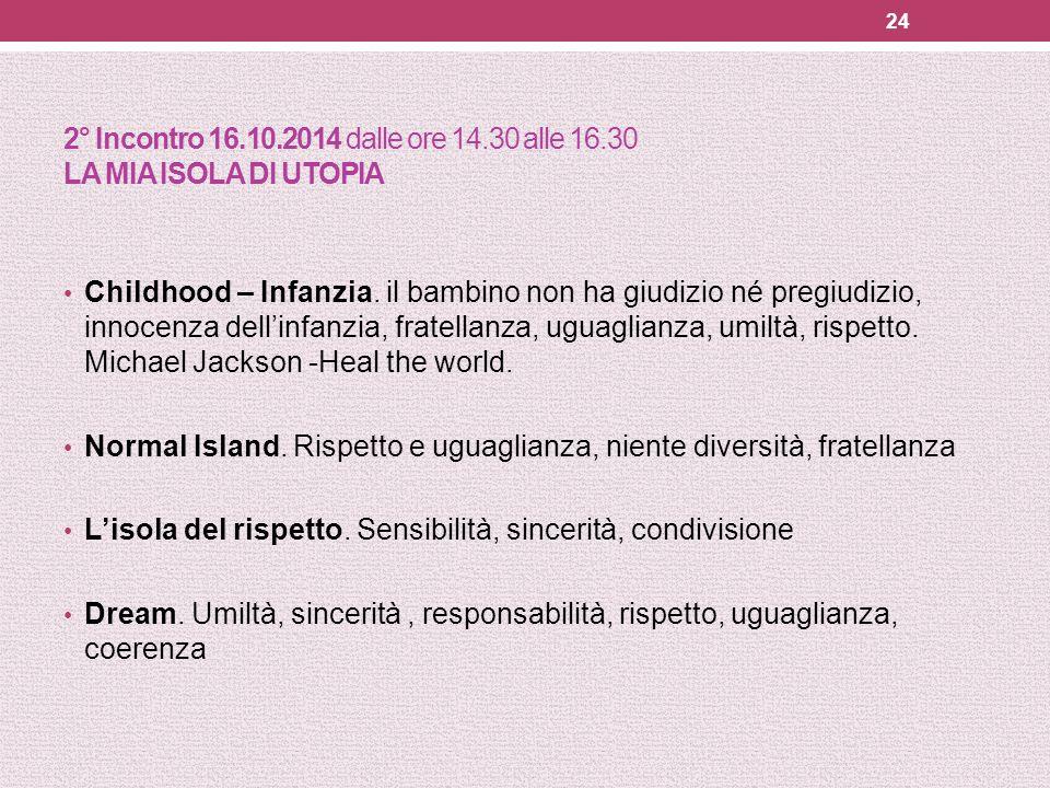 2° Incontro 16. 10. 2014 dalle ore 14. 30 alle 16