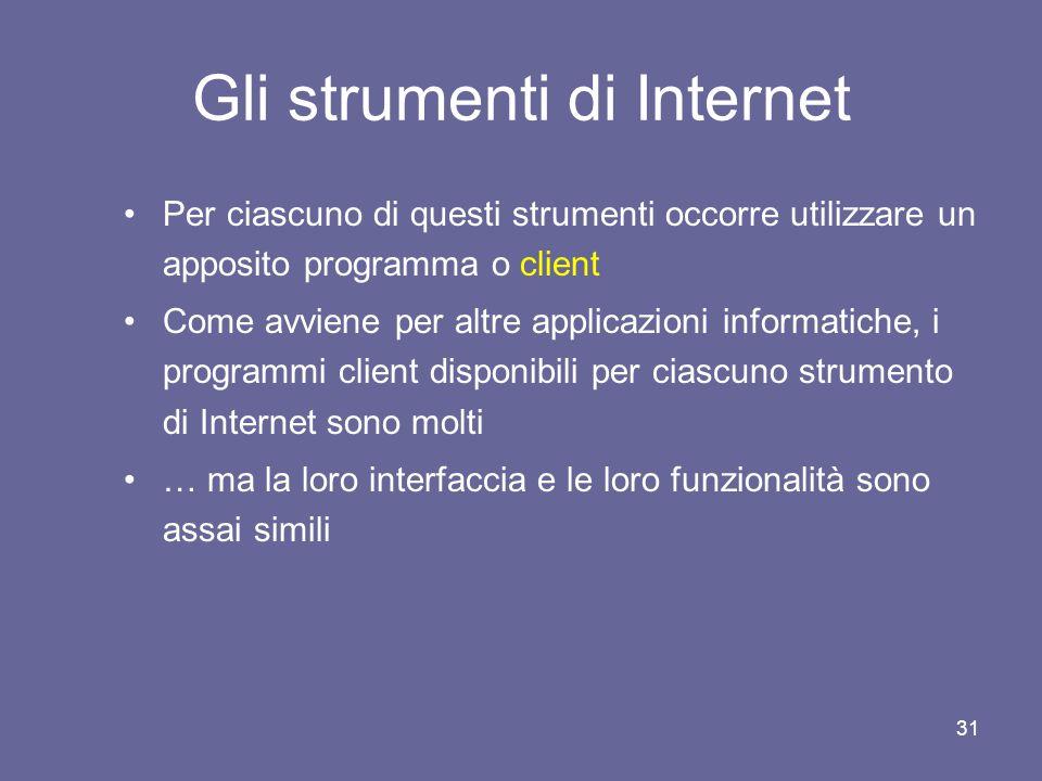 Gli strumenti di Internet